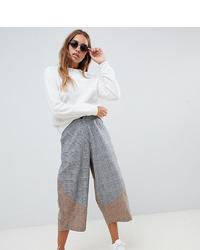 Falda pantalón de tartán gris de ASOS DESIGN