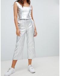 Falda pantalón plateada de Bershka