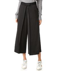 Falda pantalón plisada negra de DKNY