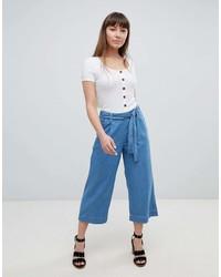 Falda pantalón vaquera azul de New Look