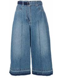 Falda pantalón vaquera azul de Sacai