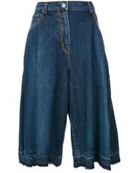 Falda pantalón vaquera plisada azul marino de Sacai