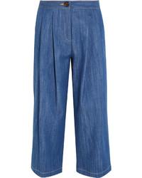 Falda pantalón vaquera plisada azul de ADAM by Adam Lippes