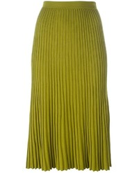 Falda plisada en amarillo verdoso de Christian Wijnants