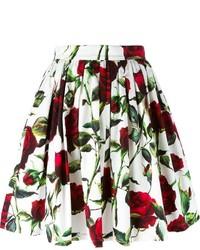Falda skater con print de flores blanca de Dolce & Gabbana