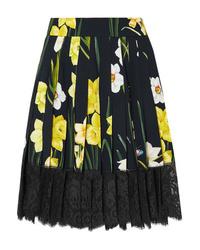 Falda skater con print de flores negra de Dolce & Gabbana