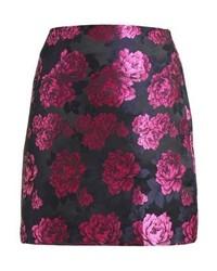 Falda skater con print de flores rosa de Fashion Union