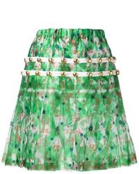 Falda skater con print de flores verde de Comme des Garcons