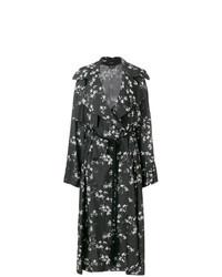 Gabardina con print de flores negra de Ann Demeulemeester