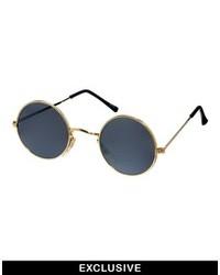 Gafas de sol en negro y dorado de Reclaimed Vintage