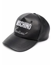Gorra de béisbol de cuero estampada negra de Moschino