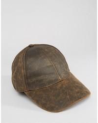 Gorra de Béisbol de Cuero Marrón de Asos