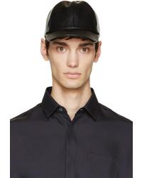 Gorra de béisbol de cuero negra de A.P.C.