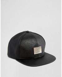 Gorra de Béisbol de Cuero Negra de Asos