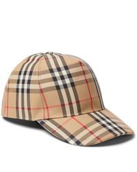 Gorra de béisbol de tartán marrón claro de Burberry