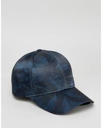 Gorra de béisbol estampada azul marino de Asos