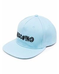 Gorra de béisbol estampada celeste de Moschino