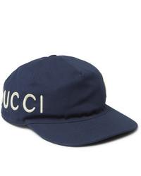 Gorra de béisbol estampada en azul marino y blanco de Gucci