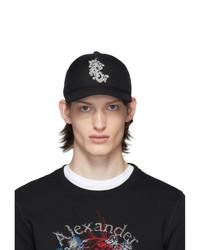 Gorra de béisbol estampada en negro y blanco de Alexander McQueen