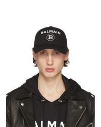 Gorra de béisbol estampada en negro y blanco de Balmain