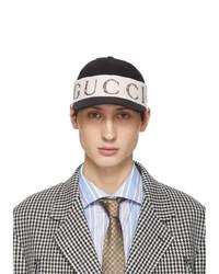 Gorra de béisbol estampada en negro y blanco de Gucci