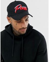 Gorra de béisbol estampada negra de ASOS DESIGN