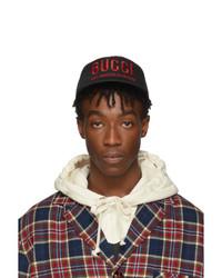 Gorra de béisbol estampada negra de Gucci
