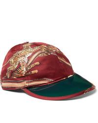 Gorra de béisbol estampada roja de Gucci