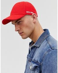 Gorra de béisbol roja de Jack & Jones