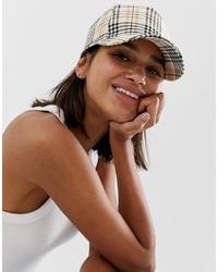 Gorra inglesa a cuadros marrón claro de Monki
