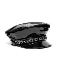 Gorra inglesa de cuero con adornos negra de Eugenia Kim