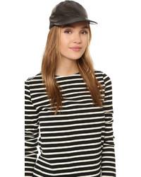Gorra inglesa de cuero negra de Kate Spade