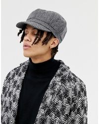 Gorra inglesa de espiguilla gris de ASOS DESIGN