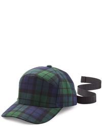 Gorra inglesa de tartán en azul marino y verde