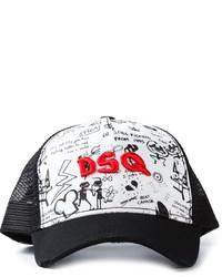 Gorra inglesa estampada en negro y blanco de Dsquared2