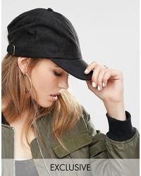 Gorra inglesa negra de Reclaimed Vintage