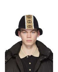 Gorro de pescador de lana estampado negro de Gucci