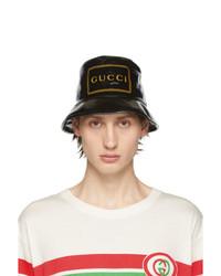 Gorro de pescador estampado negro de Gucci
