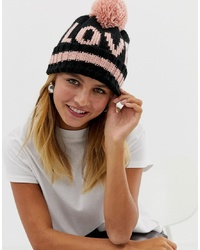 Gorro estampado negro de New Look