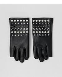 Guantes de cuero con tachuelas negros de ASOS DESIGN