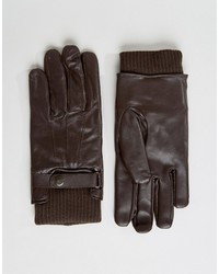 Guantes de cuero en marrón oscuro de French Connection