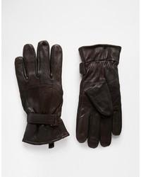 Guantes de cuero en marrón oscuro de Peter Werth