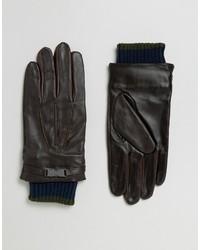 Guantes de cuero en marrón oscuro de Ted Baker