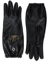 Guantes de cuero estampados negros de Balenciaga