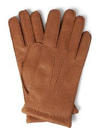 Guantes de cuero marrón claro