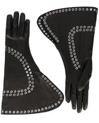 Guantes de cuero negros de Alexander McQueen