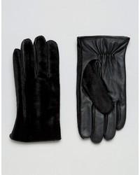 Guantes de cuero negros de Asos