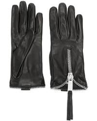 Guantes de cuero negros de Dsquared2