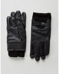 Guantes de cuero negros de French Connection