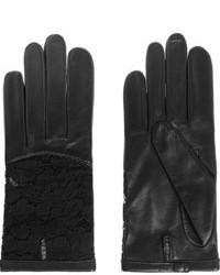 Guantes de cuero negros de Nina Ricci